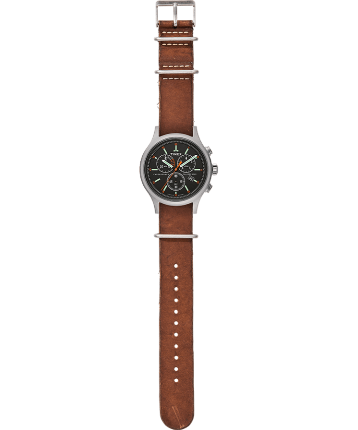 Allied Chronograph 42mm Leather Strap Watch Silver-Tone/Brown/Black large