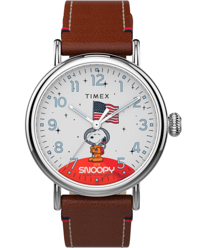 Timex x Space Snoopy Standard 40mm Leather Strap Watch  large