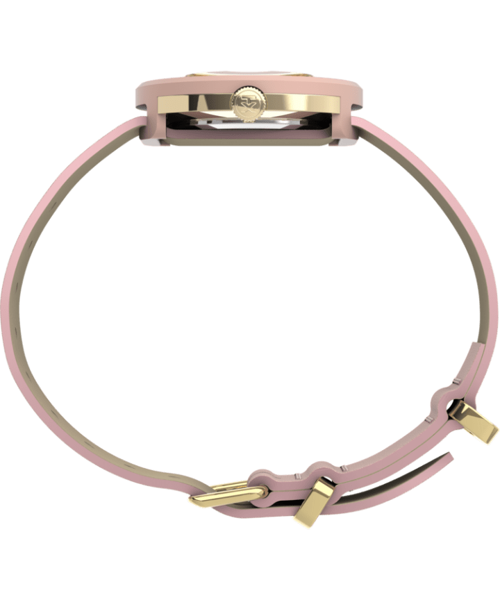 Variety™ 34mm Leather Strap Watch Gold-Tone/Pink large