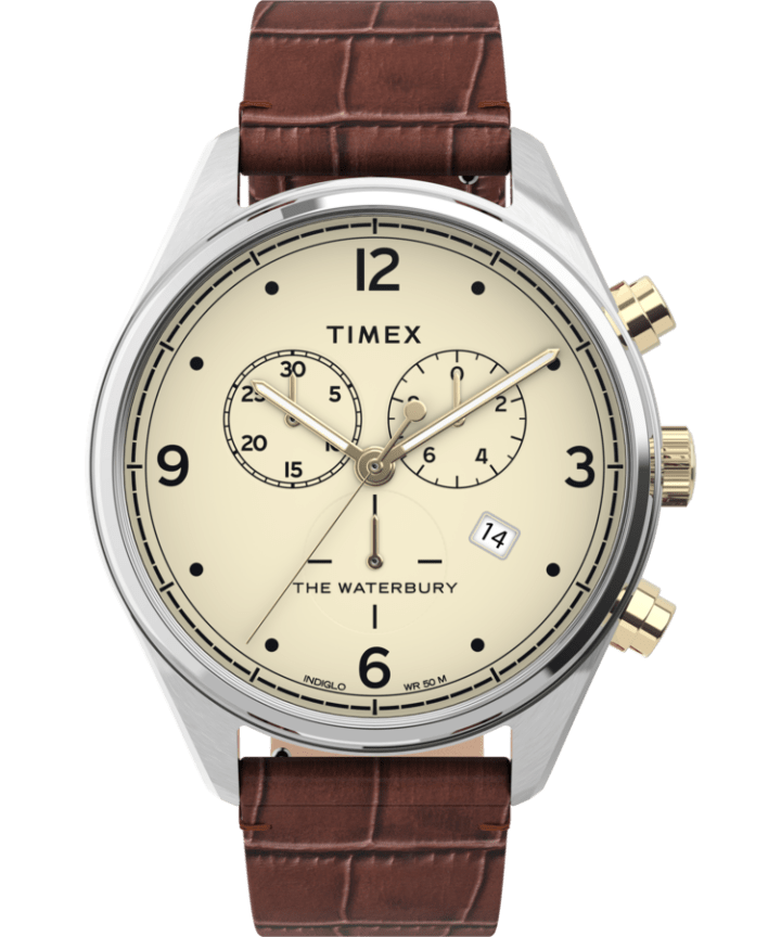 Waterbury Traditional Chronograph 42mm Leather Croco Strap Watch  large