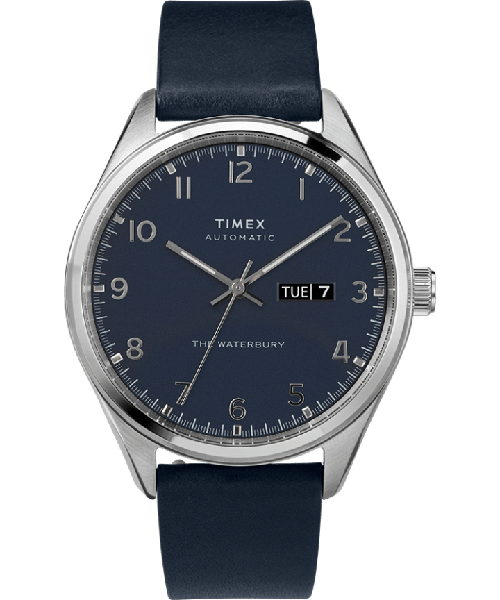 Waterbury Traditional Automatic Day-Date 42mm Leather Strap Watch Stainless-Steel/Blue large