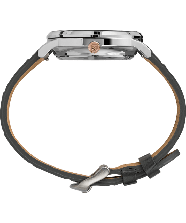Waterbury Classic Automatic Open Heart Dial 40mm Leather Strap Watch Stainless-Steel/Gray/Black large