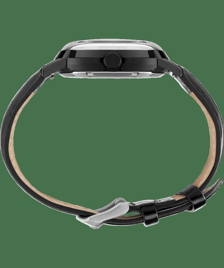 Zegarek Marlin® Automatic z kopertą 40mm i skórzanym paskiem Czarny large
