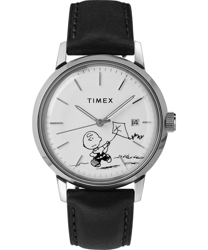 Timex x Peanuts Marlin Automatic Featuring Charlie Brown 40mm Leather Strap Watch  large