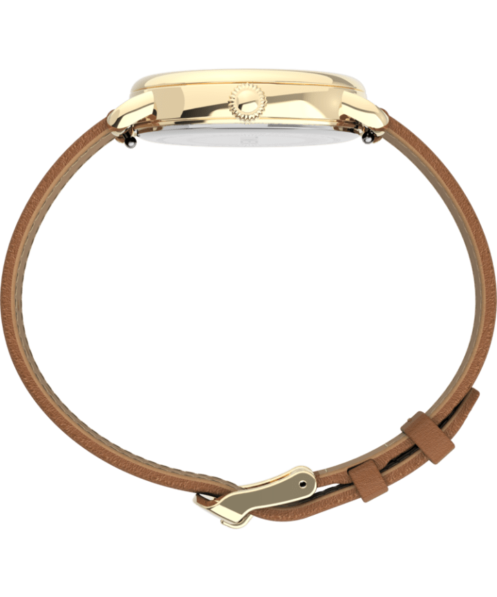Timex® Standard 34mm Leather Strap Watch Gold-Tone/Brown/Silver-Tone large