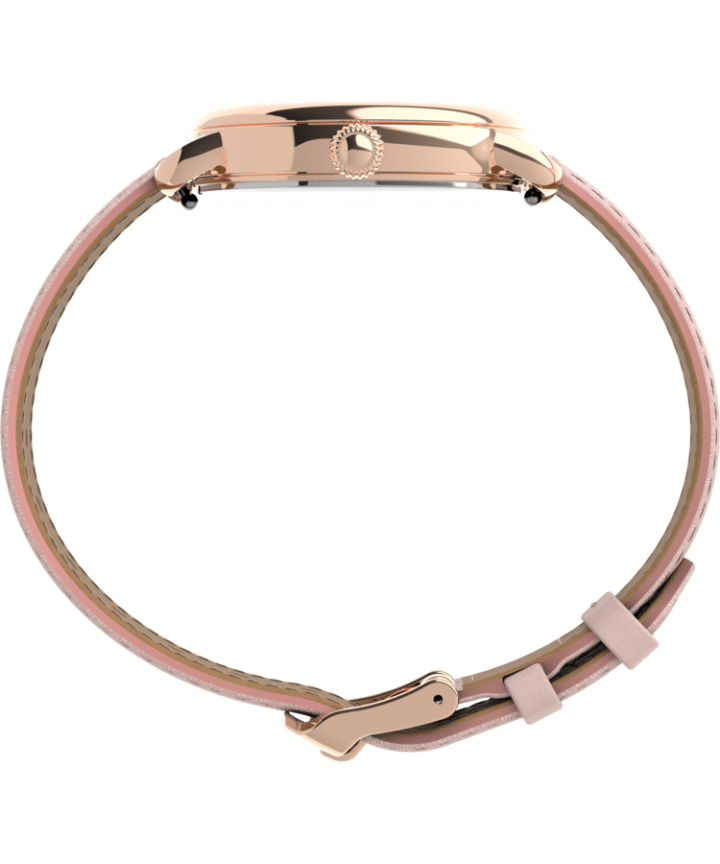 Timex® Standard 34mm Leather Strap Watch Rose-Gold-Tone/Pink/Silver-Tone large