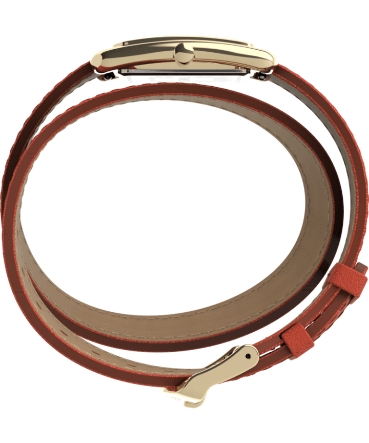 Addison 25mm Double Wrap Leather Strap Watch Gold/Orange large