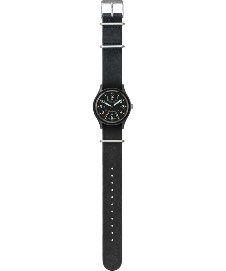 MK1 40mm Stonewashed Leather Strap Watch Black large