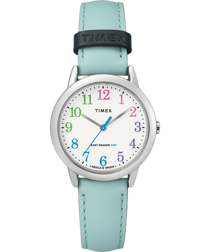 Easy Reader® Color Pop 30mm Leather Strap Watch Silver-Tone/Blue/White large