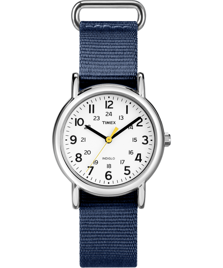 Weekender 31mm Fabric Strap Watch Silver-Tone/Blue/White large