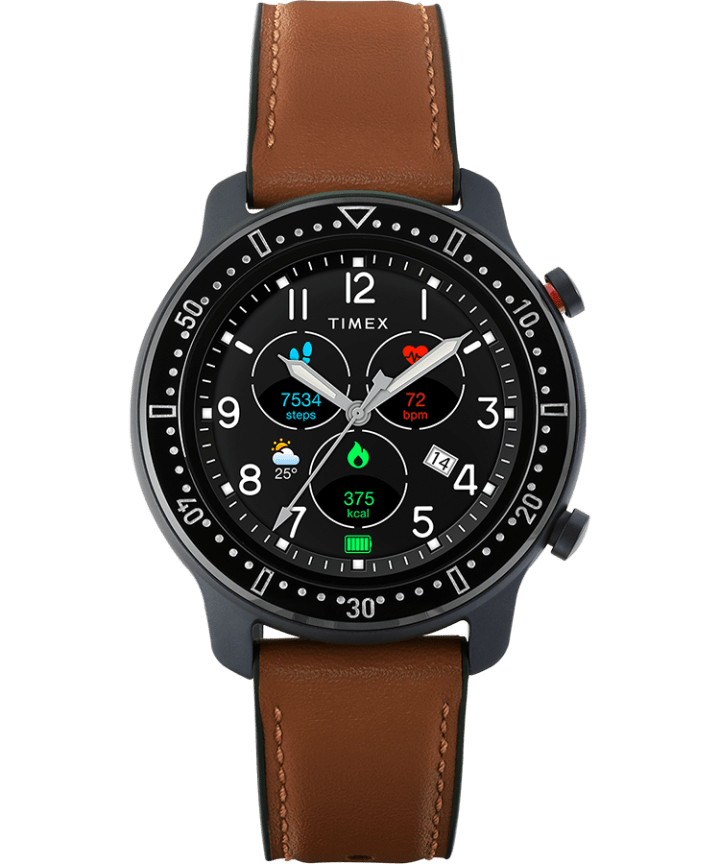 Timex Metropolitan R 42mm Leather and Silicone Strap Watch  large