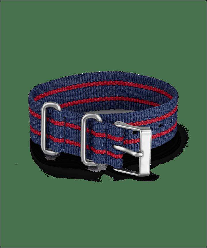 20mm Fabric Slip-Thru Single Layer Strap Blue large