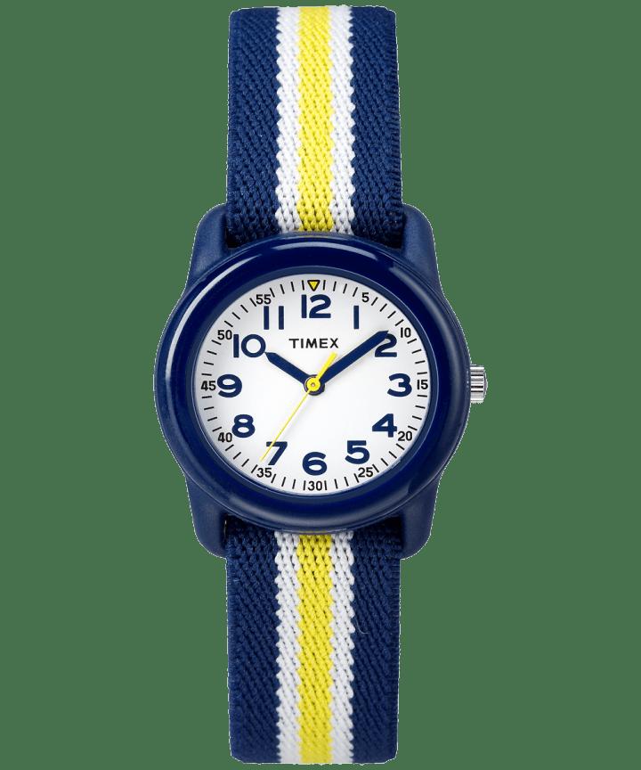 Kids Analog 29mm Elastic Fabric Strap Watch Blue/White large