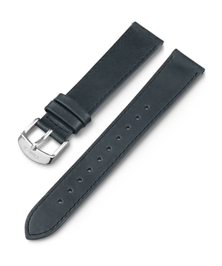 18mm Leather Strap Black large