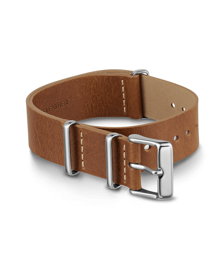 20mm Leather Slip-Thru Double Layer Strap Brown large