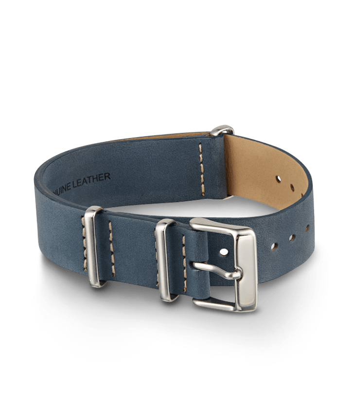 20mm Leather Slip-Thru Double Layer Strap Blue large