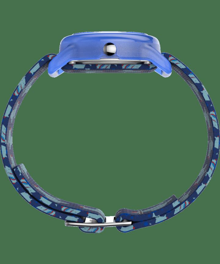 Enfants analogique 28mm, grande, bracelet en tissu extensible bleu/vert/blanc