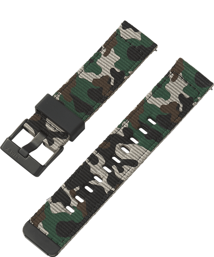 22mm Quick Release Green and Camo Fabric Strap  large