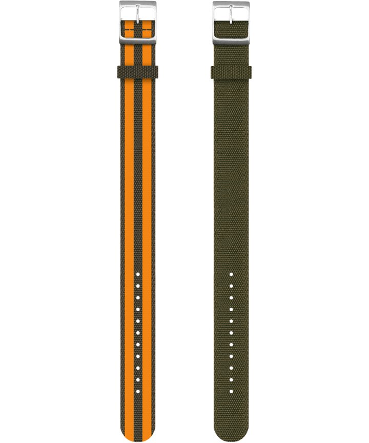 Reversible Double Weave Fabric Strap in Green and Orange  large
