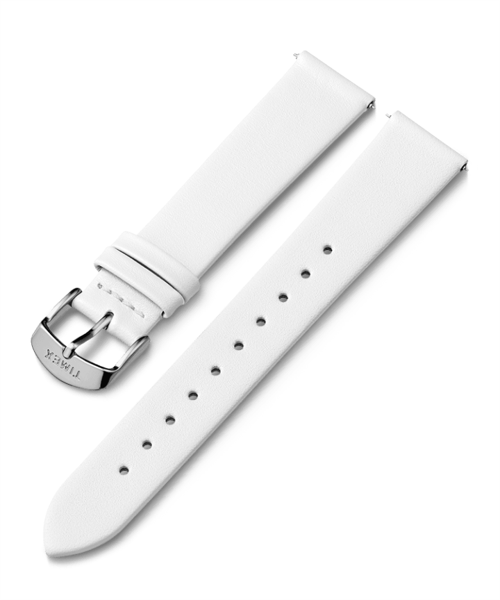 18mm Silver Tone Buckle Leather Strap  large