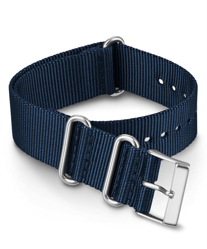 20mm Fabric Slip-Thru Double Layer Strap Blue large