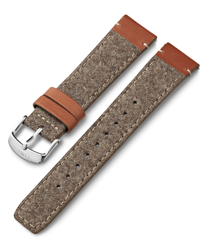 20mm Fabric Strap with Leather Accents Tan large