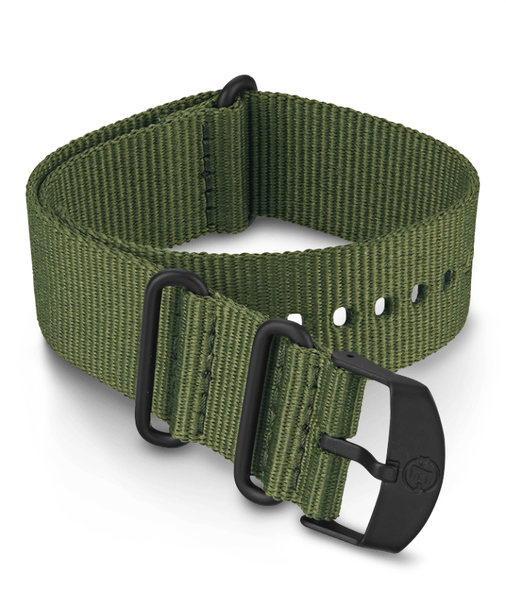 22mm Fabric Slip-Thru Double Layer Strap Green large