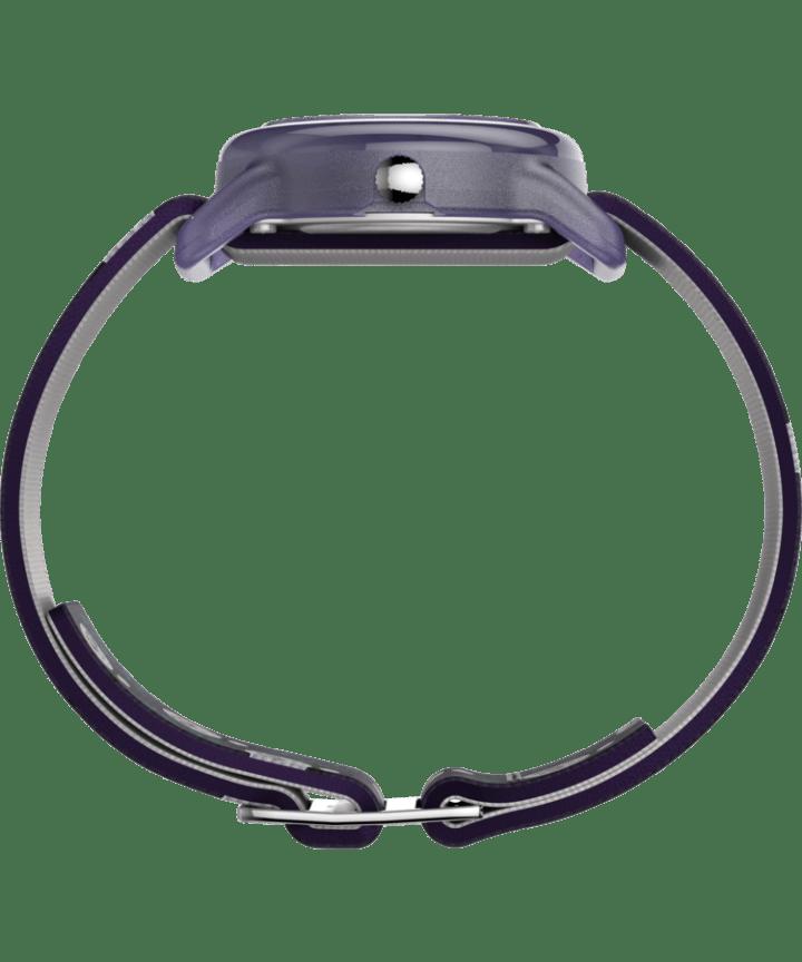 Kids Analog 28mm Elastic Fabric Strap Watch Purple/White large