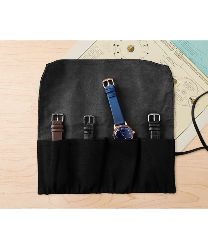 Canvas and Leather Roll For Four Watches Black large