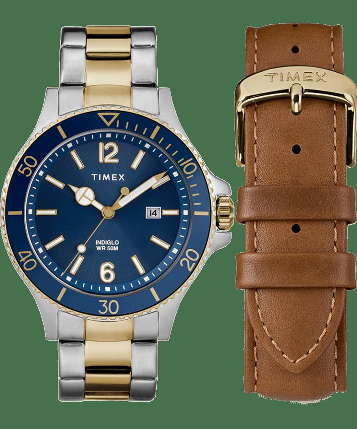 Zegarek Harboside z kopertą 43 mm, bransoletą i dodatkowym paskiem w zestawie prezentowym  large