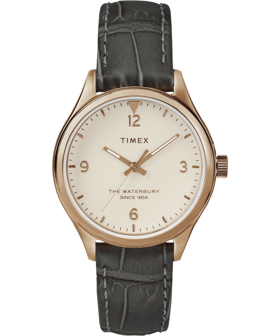 Waterbury Traditional 34mm Leather Strap Watch