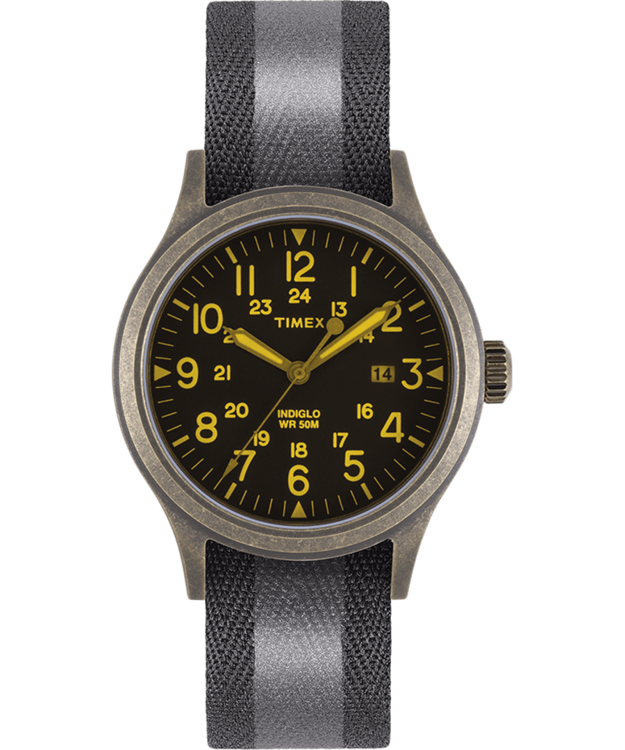 ALLIED 40MM REFLECTIVE AND REVERSIBLE FABRIC STRAP WATCH