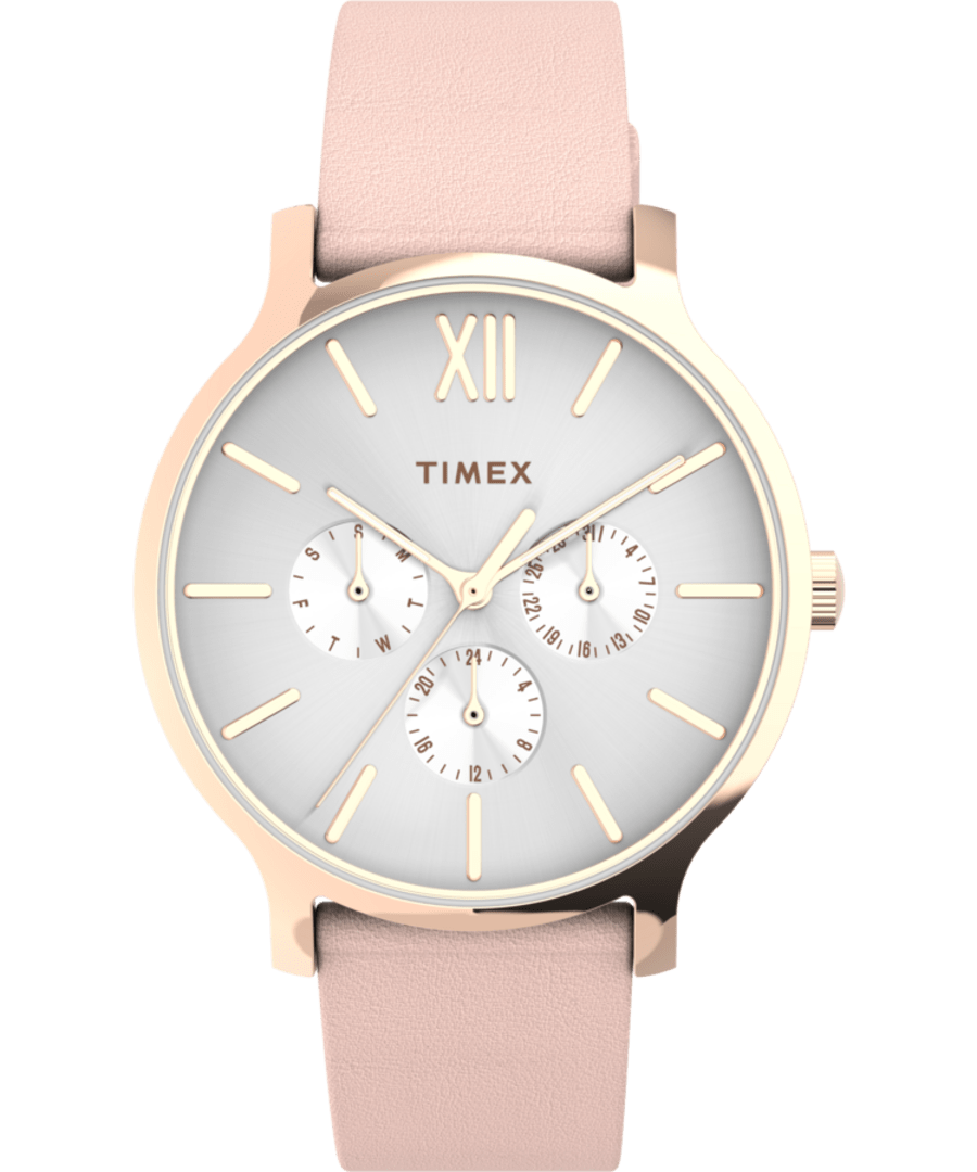 Transcend? Multifunction 38mm Leather Strap Watch